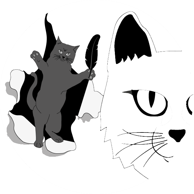 Illustration of a gray cat bursting from somewhere into a room with a white cat - similar to the Steven King film poster. Marriage Cat Magazine Announcements.