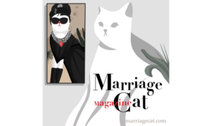 Illustration of a white cat looking at the picture of another cat. Marriage Cat Magazine - Entertaining Blogs